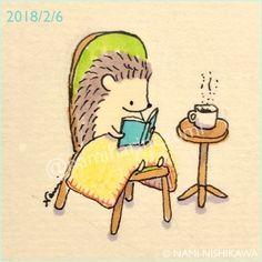 1404 #読書 Reading 寒いから暖かくしてね #illustration #イラスト #ハリネズミ #なみはりねずみ