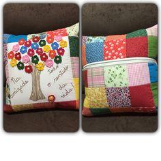 Várias técnicas nesta almofada: patchwork, flores em crochê, bordado ponto correntinha, bordado caseado e patchapliquê.