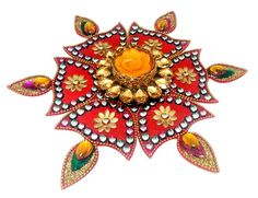 Kundan Rangoli, Diya-shaped Traditional Indian Kundan art form rangoli / kolam design, which can float on water.    Advantages of this Rangoli :