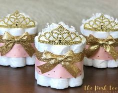 Princess Diaper Cake, Baby Shower Decor Centerpiece Present, Royal Little Princess Pink and Gold Tiara Crown Girl, ONE Mini 1 tier