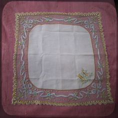 Stunning Antique Wedding Bridal french Square Handkerchief embroidered on net - Vintage Whitework Souvenir from France - museum quality, initials MC. $150.00, via Etsy.