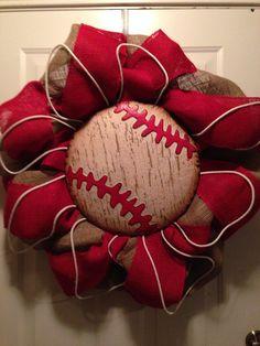 Baseball wreath made with burlap by AWingandABead on Etsy, $75.00