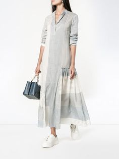 Shop Stella McCartney striped long sleeve dress from our Day Dresses collection. Sewing Clothes Women, Dress Clothes For Women, Summer Dresses For Women, Casual Day Dresses, Simple Dresses, Modest Fashion, Fashion Dresses, Elisa Cavaletti, White Long Sleeve Dress