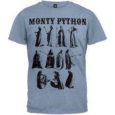 Terry Jones's hilarious character The Bishop is featured in a series of action poses on this light blue, 100% cotton t-shirt from Monty Python, with a troupe logo in a gothic font at the top. An awesome, rollicking tee for fans of Britain's most twisted comic minds!