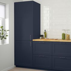 Navy Cabinets, Ikea Cabinets, Navy Blue Kitchen Cabinets, Ikea Laundry Room Cabinets, Dark Blue Kitchens, Matt And Blue, Ikea Family, Kitchen Cabinet Doors, Traditional Kitchen