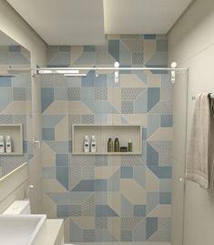 """Banheiro lindo com destaque para o revestimento """"look blue"""" da Eliane que deu vida ao espaço 😍 Auto Bathroom Tile Designs, Bathroom Design Small, Bathroom Interior Design, Modern Bathroom, Serene Bathroom, Bathroom Ideas, Toilet Design, Room Paint Colors, House Design"""
