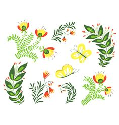 Flowers and butterflies vector 4257988 - by gollli on VectorStock®