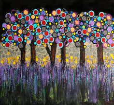 :: When Night Falls :: Art Print. Could do Kandinsky style circles in warm colors only for a fall tree....or cool colors only to look like nighttime