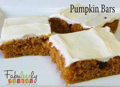 Pumpkin Bars recipe. Perfect for fall baking, and extra pumpkin puree!