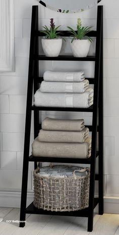 Legend Big DIY Bathroom Storage Ideas # Storage Ideas # bathroom # tool - DIY Home Decor Bathroom Towel Storage, Bathroom Organisation, Home Organization, Bathroom Towels, Vanity Bathroom, Organizing, Towel Rack Bathroom, Bathroom Ladder, Bathroom Canvas