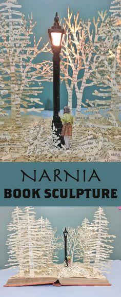 Sculpt a little piece of Narnia in a book.