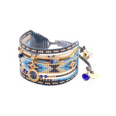 Manchette en perles bleues et chaîne dorée MEDLY BE 2940