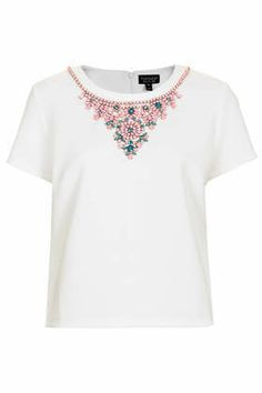 TOPSHOP Embellished Necklace Tee £32 - Add a hint of glint to everyday looks in these bling embellished tees