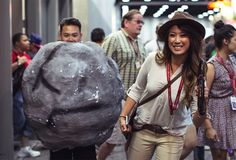 2014 San Diego Comic-Con Cosplay: Gender swapped Indy Jones and boulder.