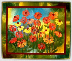 Love the variation of color in the background  Marjan Kluepfel: Fabric Artist-Quilt Teacher - Flowers Gallery