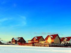 Village and winter sun reflections | landscape photography. Aigen-Schlägl, Austria / Österreich