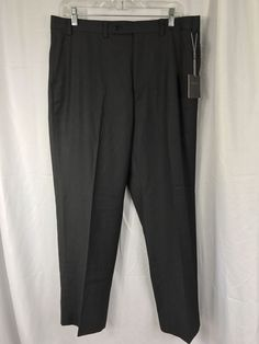 New Van Heusen Mens Charcoal Gray Dress Flat Front Pants 36 x 30 #VanHeusen #DressFlatFront
