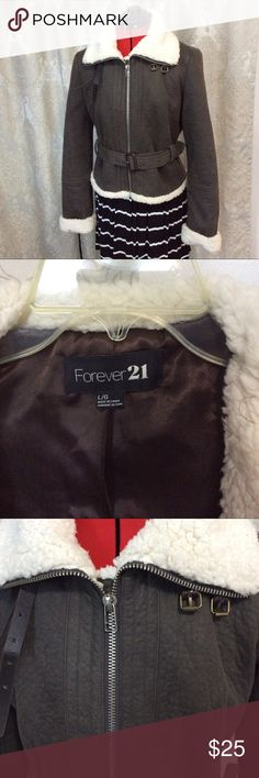 JR F21 Fleece-Lined Bomber Jacket EUC - I think my daughter wore this once. Faux suede. Very warm bomber jacket, water repellent. Lined with faux shearling. Check out all the cool details. Deep, warm pockets. Neck buckles up to keep you even warmer. Bundle two or more items to receive a 25% Discount. THANK YOU! Forever 21 Jackets & Coats