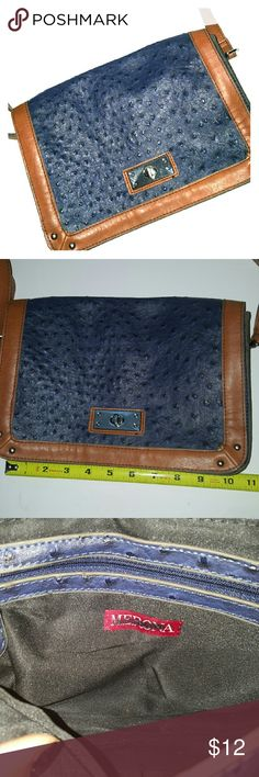 Merona Faux Leather Crossbody Faux Leather Dark blue color Adjustable golden brown strap Inside has a zipper compartment  Measurements above? Merona Bags Crossbody Bags