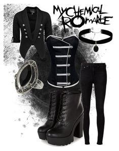 My Chemical Romance Cute Emo Outfits, Edgy Outfits, Girl Outfits, Fashion Outfits, Rock Outfits, Fashion Clothes, Fashion Boots, Fashion Accessories, Casual Cosplay