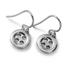 Lucy Q Silver Button Small Drop Earrings