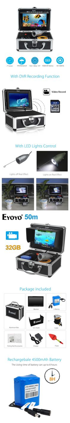 "EYOYO Original 7""Full Silver Video Fish Finder HD 1000TVL 50M Underwater Fishing Camera White LED Video Recording 32GB Fish Cam"