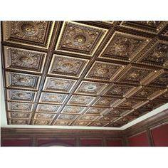 CeilingMAX 0.08 ft. x 8 ft. Ceiling Grid Kit PVC Ceiling Tile & Reviews | Wayfair Metal Ceiling Tiles, Ceiling Grid, Ceiling Decor, Ceiling Design, Ceiling Ideas, Hotel Ceiling, Speakeasy Decor, Whiskey Room, Whiskey Lounge