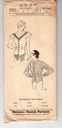 Vintage Sewing Pattern 1930's Ladies' Blouse Bust 36 by Mrsdepew
