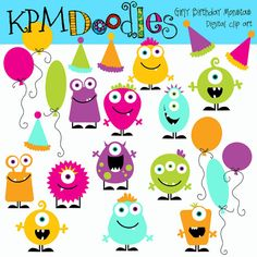 girly Birthday Monsters digital clipart by kpmdoodles on Etsy, $3.50