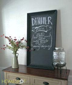 Framed out board with blackboard paint.