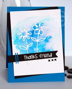 Thanks Friend card by Michele Boyer for Paper Smooches - Dainty Flowers