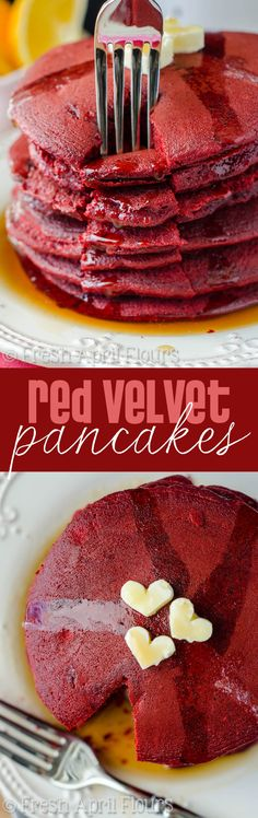 Red Velvet Pancakes - Light and fluffy pancakes made easily with red velvet cake mix. Ready in no time so you can enjoy Valentine's Day breakfast with your sweetie!