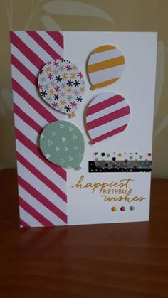 Birthday card, Stampin Up It's my Party DSP & washi tape, balloon punch