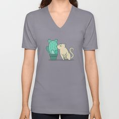 Catcus V-neck T-shirt - Cactus, cacti, prickly pear, cat, cats, kitten, kitty, feline, purr, plant, plants, love, pet, adoration, friend, unlikely friendship, cute, vector, art, design, cartoon, illustration, drawing
