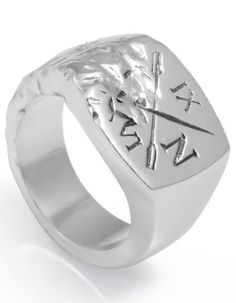 Smith/Grey Silver Mens Signet Ring.