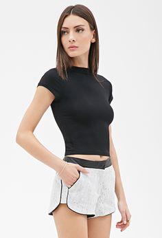 Bouclé & Faux Leather Shorts | FOREVER21 - 2000137285