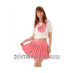Sweet Pink And White School Lolita Dress Janpan School Uniform With... (365 CNY) via Polyvore featuring dresses, knot dress, bow dress and pink and white dress