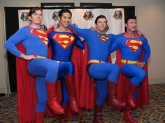 A Merry Band of Supermen by on DeviantArt Superman Cosplay, Superman Costumes, Jack Skellington Cosplay, Blue Costumes, Lon Chaney, Superman Man Of Steel, Dc Comics Superheroes, Male Cosplay, Cosplay Characters