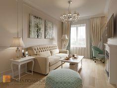 Фото: Гостиная - Интерьер двухкомнатной квартиры в ЖК «Классика», 75 кв.м.