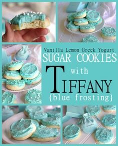 NO rolling and NO refrigeration needed - Vanilla Lemon Greek Yogurt Moist and perfect Sugar Cookies with Tiffany Blue Frosting Recipe and Tutorial - These are SO pretty and over the top YUMMY!