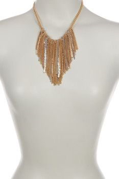 Kenneth Cole New York Fringe Frontal Bib Necklace