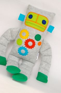 Geary the Robot plush - Jack Monster Dolls, Fabric Toys, Boy Doll, Diy Toys, Sewing For Kids, Handmade Toys, Softies, Felt Crafts, Craft Fairs