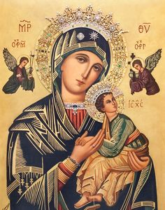 Our Lady of Perpetual Help, pray for us! Blessed Mother Mary, Blessed Virgin Mary, Madonna, Catholic Altar, Pictures Of Jesus Christ, Religious Paintings, Jesus Art, Holy Mary, Archangel Michael