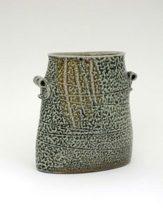 Mandy Parslow: Handled Elliptiacal Vessel, 19(H) x 18(L) x 11(D) cm. Wheel-thrown and altered wood-fired salt-glaze. 2013
