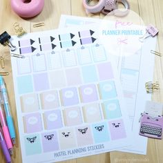 Pastel Planning stickers - free printble, for personal use only.