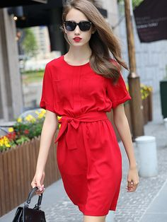 Red,Pocket Detail,Bowknot Waist,Short Sleeve,Dress