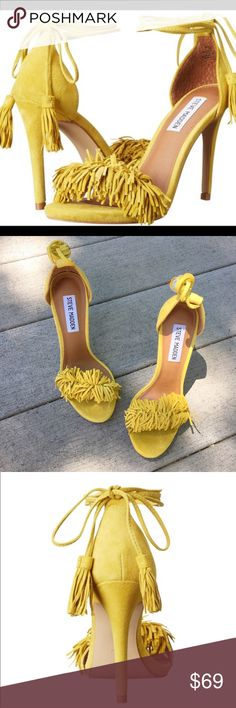"""Trending Now! NIB Steve Madden Fringe Heels Brand new Steve Madden yellow suede fringe sandals in size 5.5. Comes with original box. Heel measures 4.25"""" inches. Steve Madden Shoes Heels"""