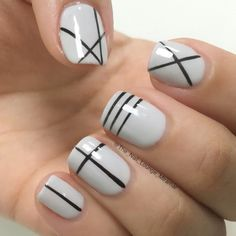 Geometric lines nail art design