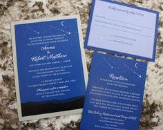 Royal Blue Moon & Stars Over Mountain Range Astrology Wedding Invitations