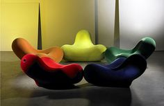 Bucky Lounge Chairs 1995 Marc Newson, installation at the Foundation Cartier pour l'Art Contemporain, Paris, France (named for Buckminster Fuller geodesic structures)